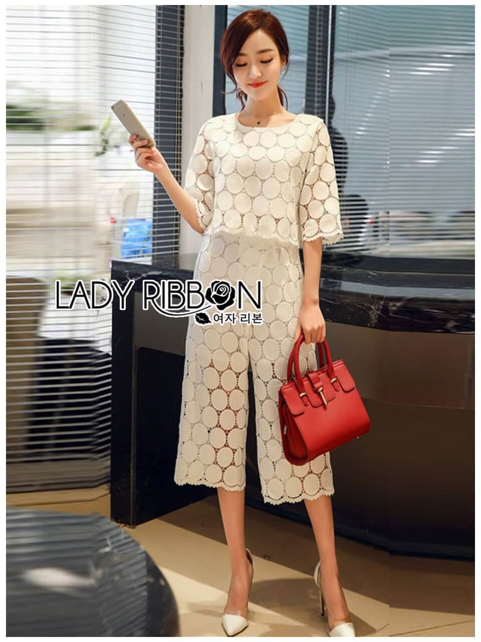 &#x1F380 Lady Ribbon's Made &#x1F380 Lady Ariana Round n' Round Cotton Embroidered Top and Pants Set