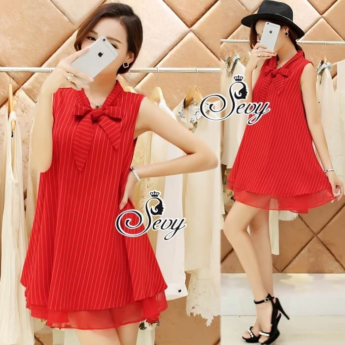 Sevy So Hot Ribbon Neck Sleeveless A Line Mini Dress