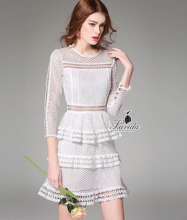 🎗Korea Design By Lavida Noble circle stitching lace multilayer dress code866