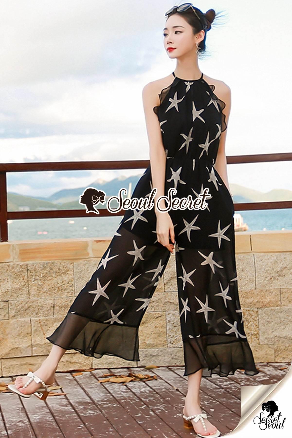 Seoul Secret Say's... Chiffon Starfish Print Ornamental Jumpsuit