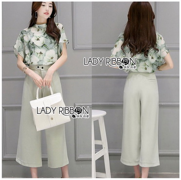 Lady Ribbon Korea Korea Design LR06300616 &#x1F380 Lady Ribbon's Made &#x1F380 Lady Anna Smart Casual Floral Printed Top and Culottes Set เ
