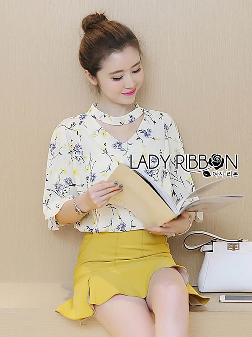 &#x1F380 Lady Ribbon's Made &#x1F380 Lady Emily Floral Printed Cut-Out Top and Mustard Peplum Skirt Set