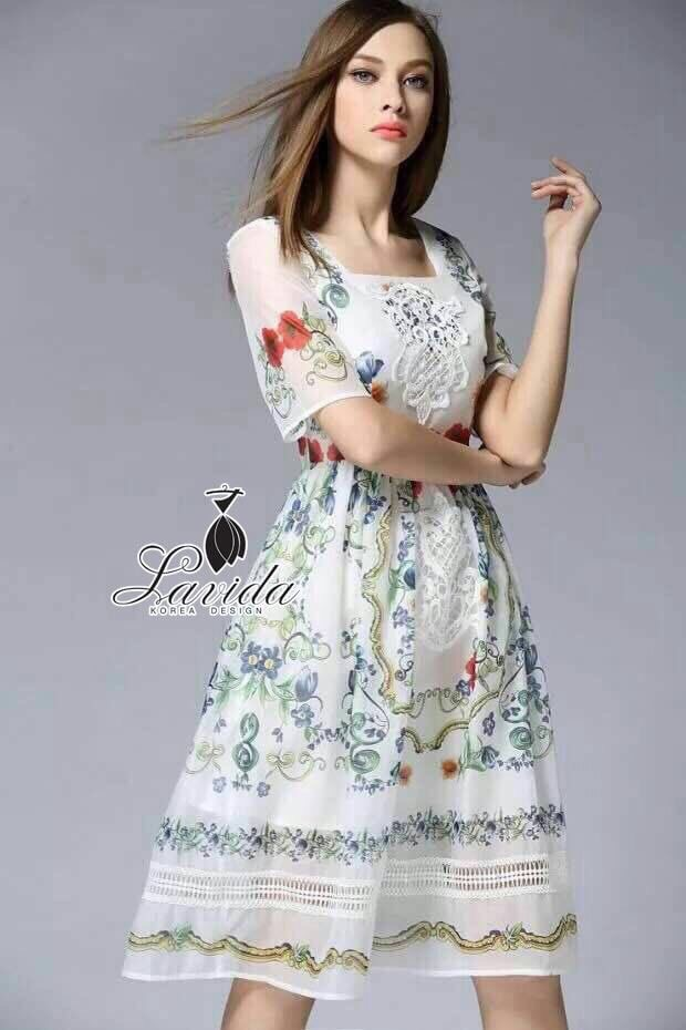 Lady Ribbon Korea Closet &#x1F36DKorea Design By Lavida elegant vintage style square neck floral printed race dress