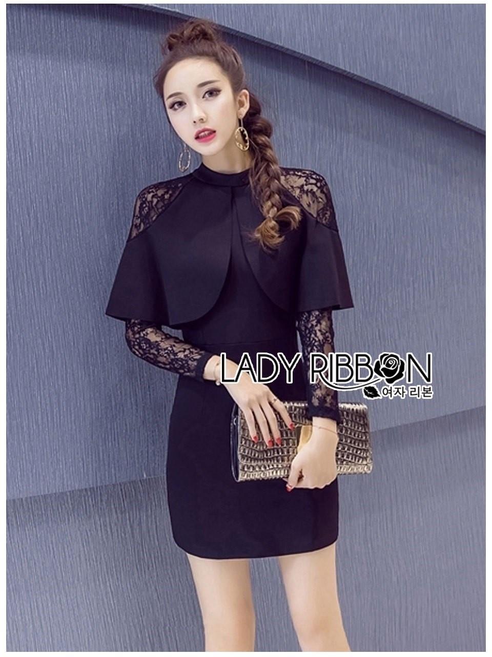 &#x1F380 Lady Ribbon's Made &#x1F380 Lady Jennifer Twisted Ruffle Lace and Crepe Mini Dress