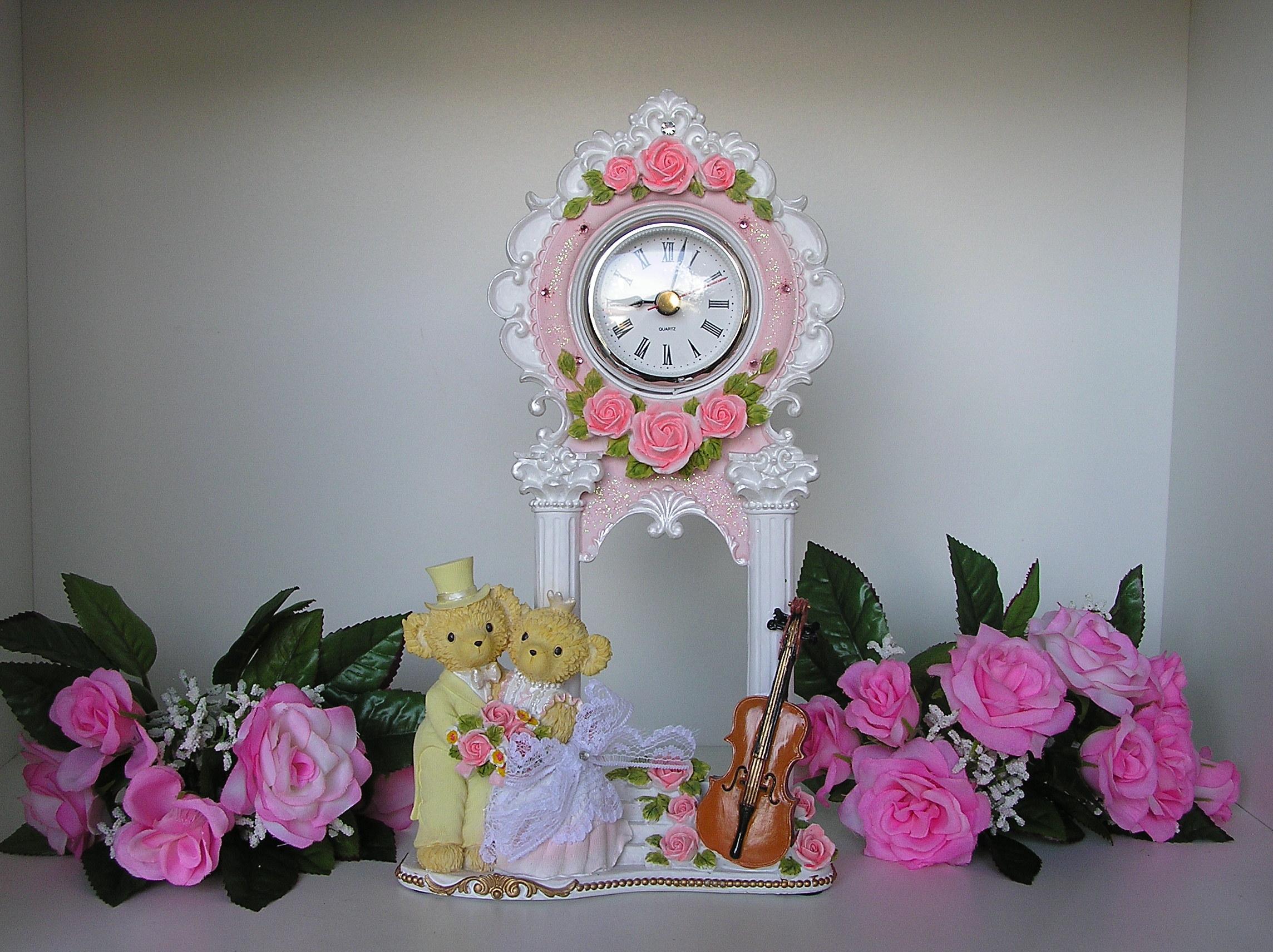 นาฬิกาตั้งโต๊ะหมีน้อยคู่รัก