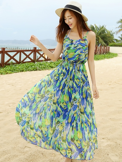 ชุดไปเที่ยวทะเล สีเขียว น้ำเงิน ลายขนนก สายเดี่ยว ผ้าชีฟอง สวยๆ สวมใส่สบายๆ