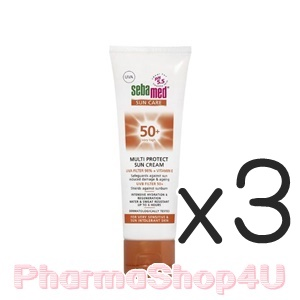 (ซื้อ3 ราคาพิเศษ) Sebamed Multi Protection Sun Cream SPF 50++ 75mL ซีบาเมด มัลติ โพรเทค ซัน ครีม เอสพีเอฟ 50+ ปกป้องผิวจากรังสี UVA และ UVB
