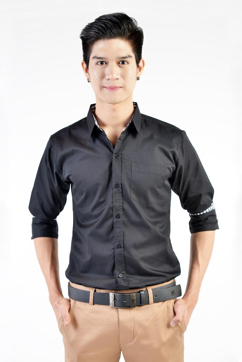 เสื้อเชิ้ตผู้ชายสีดำ ผ้าคอตตอน