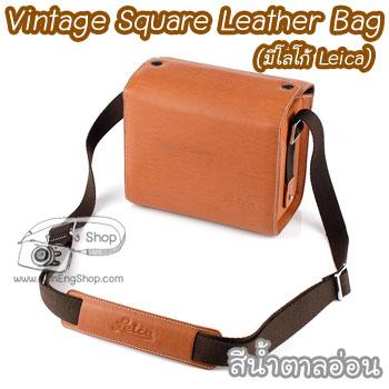 กระเป๋ากล้องเล็ก Mirrorless - Vintage Square Leather Bag มีโลโก้ Leica