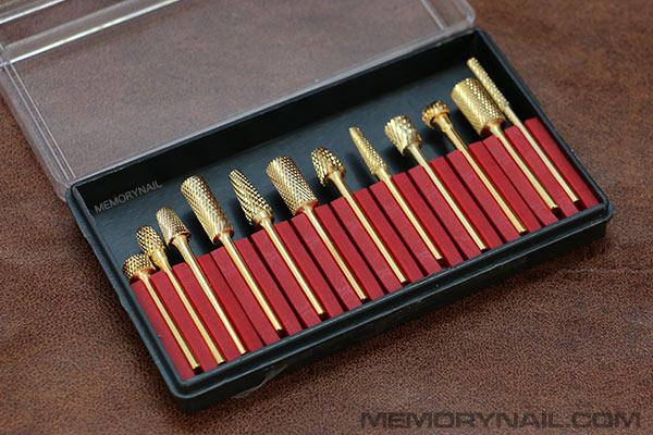 หัวเจียเล็บอะคริลิค สีทอง คละแบบ ชุดใหญ่ 12 หัว