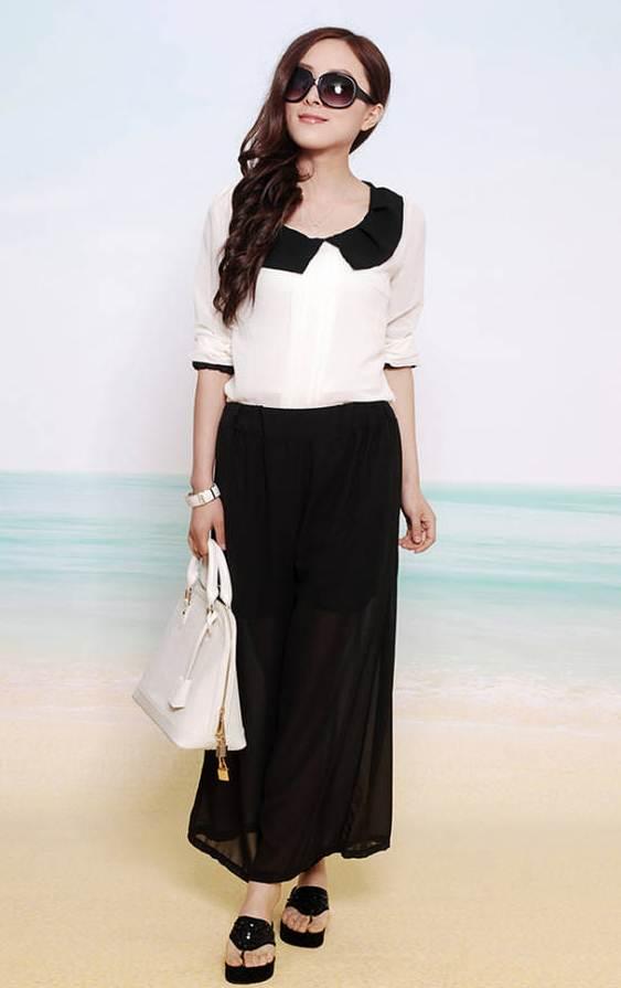 กางเกงแฟชั่น ขายาว ผ้าชีฟอง สีดำ