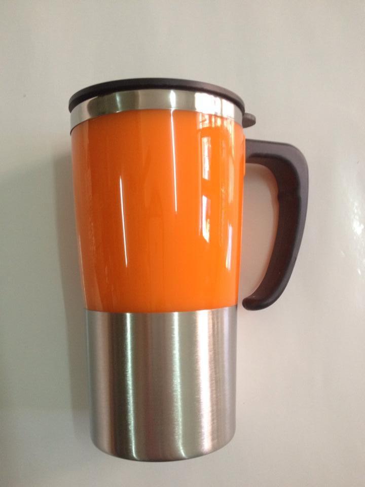 แก้วน้ำสแตนเลส สีส้ม เก็บความร้อน ความเย็น