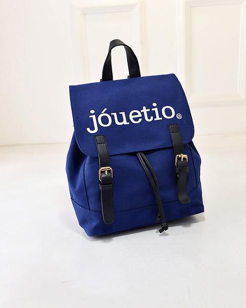 พร้อมส่ง-กระเป๋าเป้ สะพายหลังสไตล์ญี่ปุ่น สกรีนJouetio สีน้ำเงิน