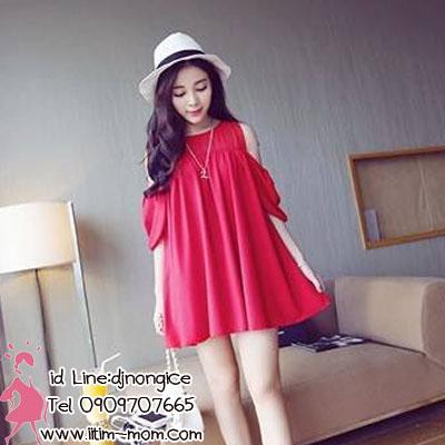 เสื้อคลุมท้องผ้าซีฟองสีแดง ผ้าใส่สบาย