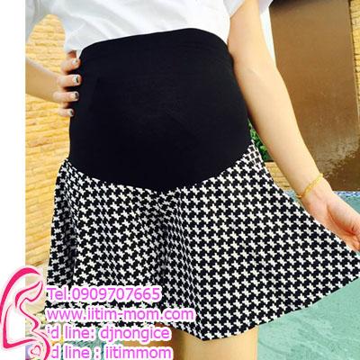 กางเกงขาสั้นสำหรับคนท้องลายชิโนริดำขาว มีผ้าพยุงครรภ์เอวปรับได้