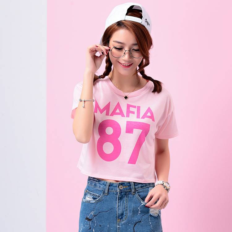 เสื้อแฟชั่น คอกลม แขนสั้น ลาย MAFIA87 สีชมพู