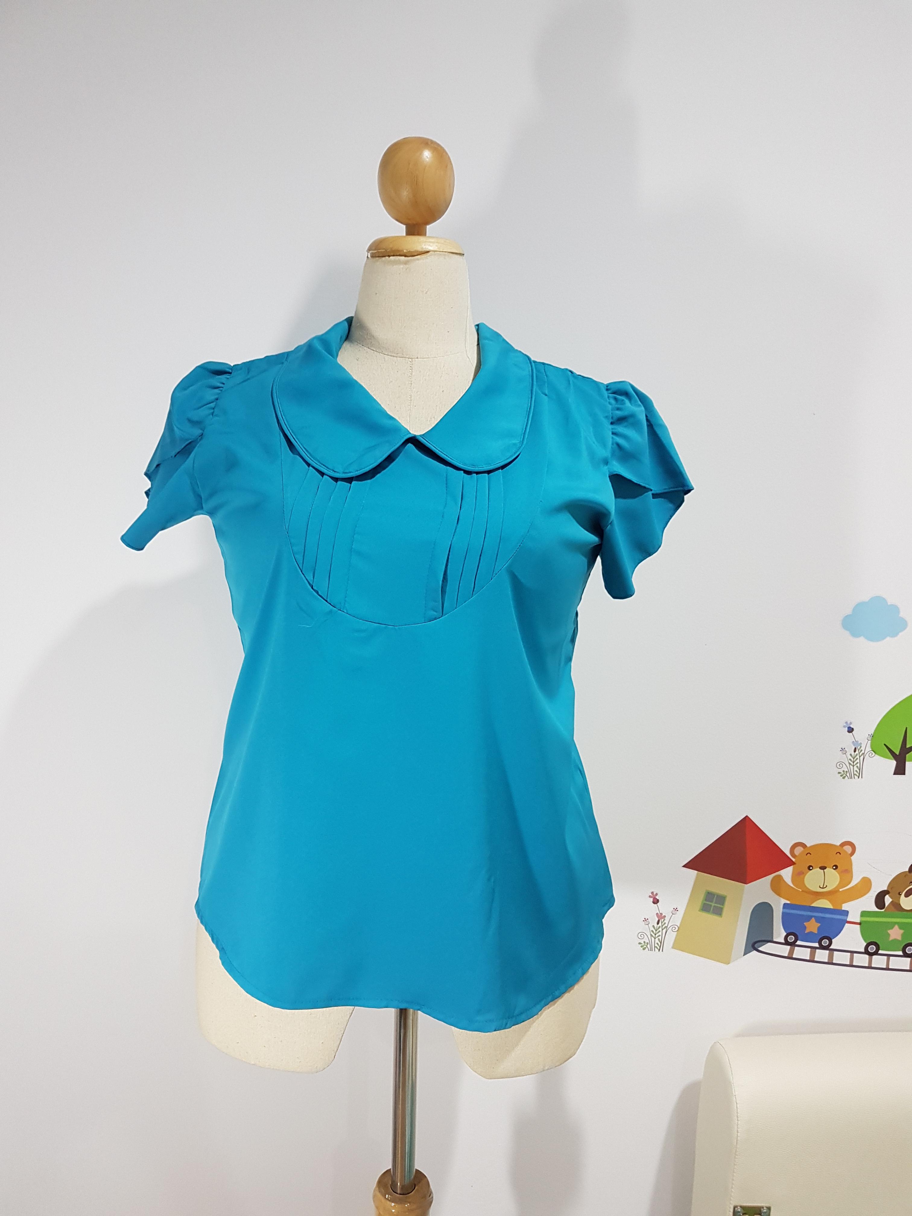 เสื้อทำงาน ผ้าไหมอิตาลี คอบัว สีเขียวทะเล ไซส์ XL อก 42-44 นิ้ว