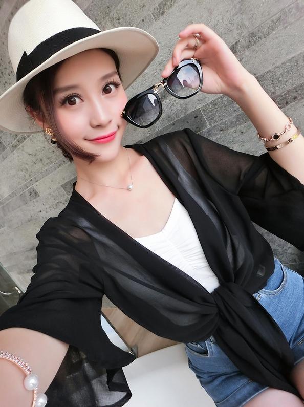 เสื้อคลุม แขน4 ส่วน ผ้าชีฟอง สีดำ