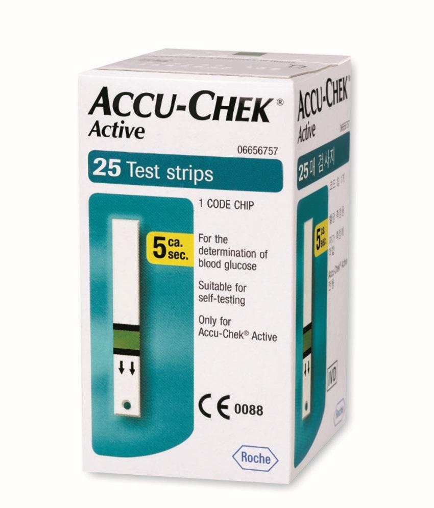 แผ่นวัดน้ำตาล Accuchek active 25 tests