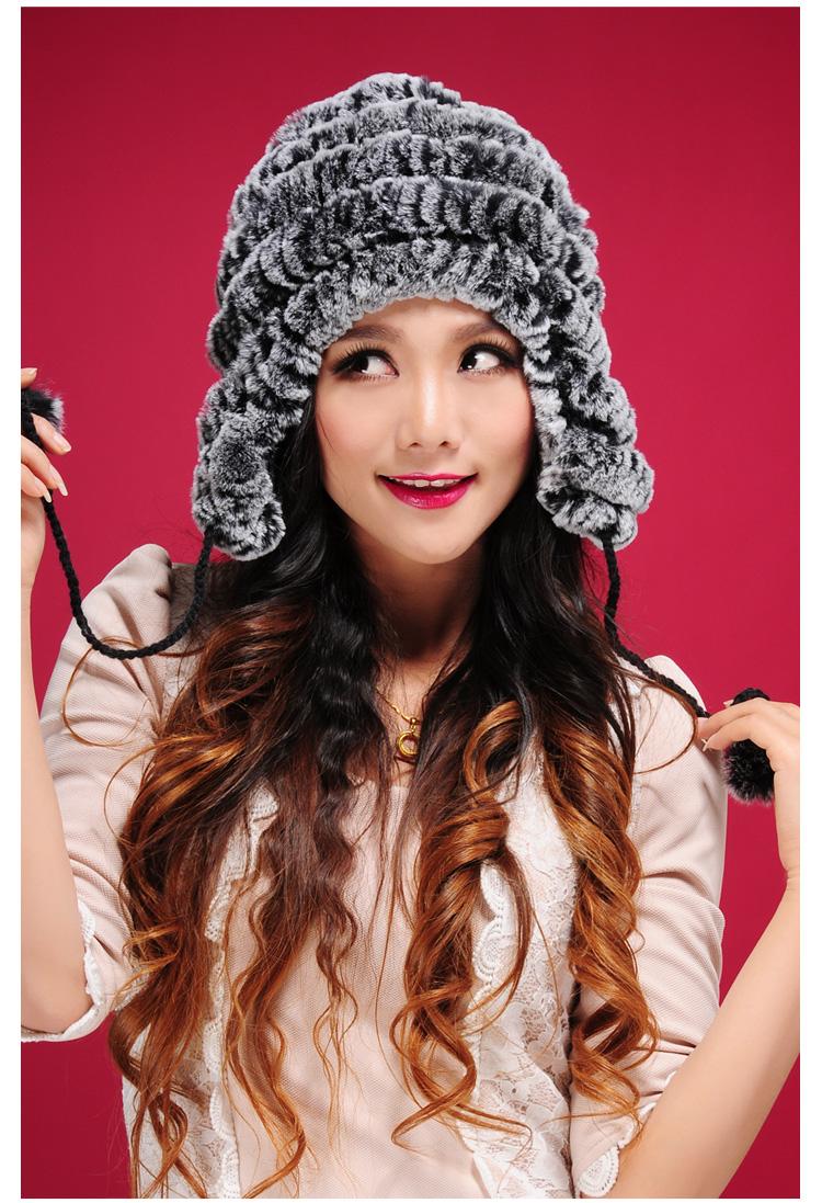 พร้อมส่ง หมวกกันหนาวสไตล์สาวรัชเซียขนกระต่ายแร็กซ์**แท้ สีเทาดำ