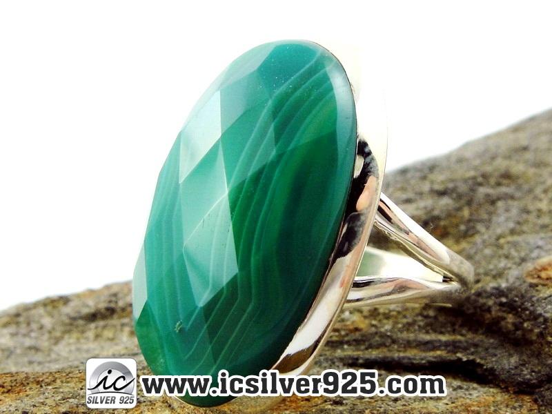 ▽บอสวาน่า อาเกต (Green Botswana Agate)แหวนเงินแท้ 925(แหวนเบอร์ : 58)