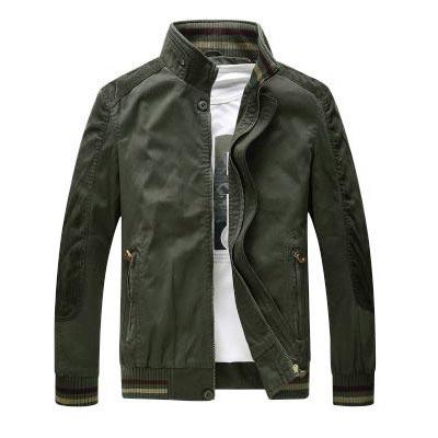 เสื้อแจ็คเก็ตผู้ชายคอปีน เสื้อกันหนาวผู้ชาย สีกากี เท่ๆ จั้มข้อมือ และเอว