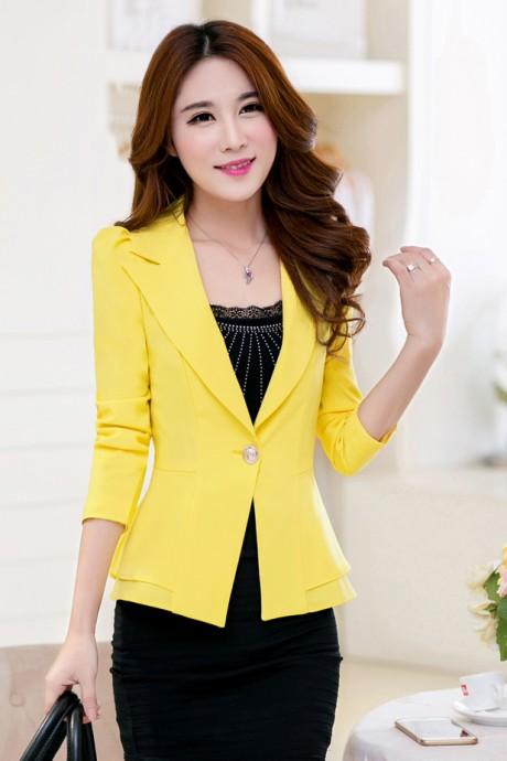 (สินค้าหมด) เสื้อสูทแฟชั่น เสื้อสูทผู้หญิง สีเหลือง แขนยาว แต่งระบายชายเสื้อ 2 ชั้น