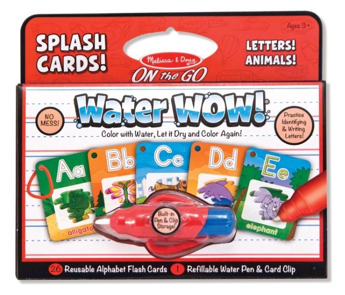 สมุดระบายสีแบบพกพา Melissa and Doug Splash Card Water Wow Reusable - ตัวอักษร A-Z