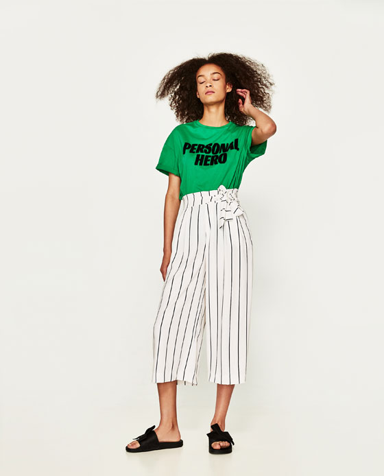 ZARA CROPPED TROUSERS WITH TIE