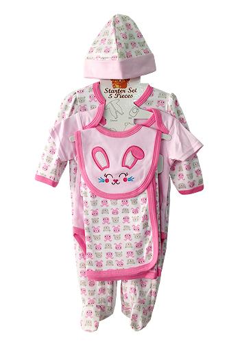 **Nannette** WT533 Size 0/3, 3/6, 6/9m เสื้อผ้าเด็กขายส่ง ชุดเซ็ต 5 ชิ้น ในแพคมี ชุดหมีแขนยาว, บอดี้สูทแขนสั้น, ผ้าห่ม, ผ้ากันเปื้อน และ หมวก ครบชุดค่ะ