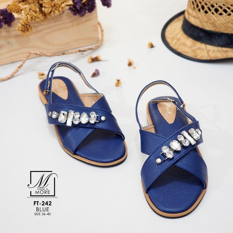 รองเท้าแตะรัดส้นสีน้ำเงิน สายคาดไขว้ ประดับเพชร (สีน้ำเงิน )