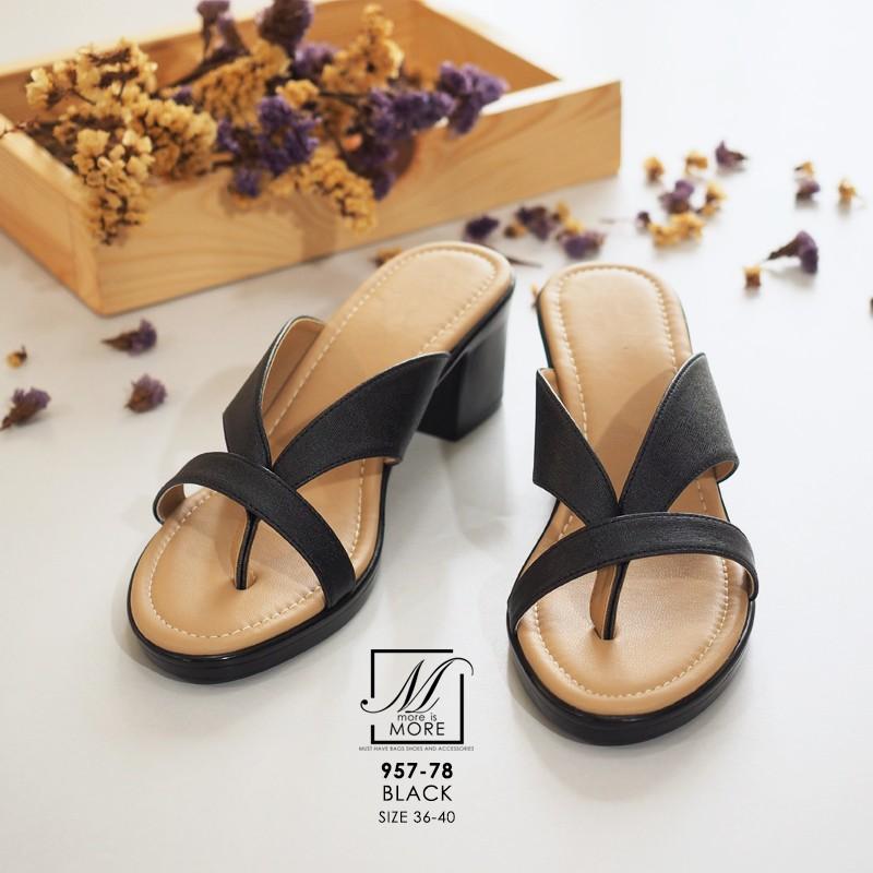 รองเท้าส้นตันสีดำ แบบคีบ เก็บเท้า match ง่ายกับทุกชุด (สีดำ )