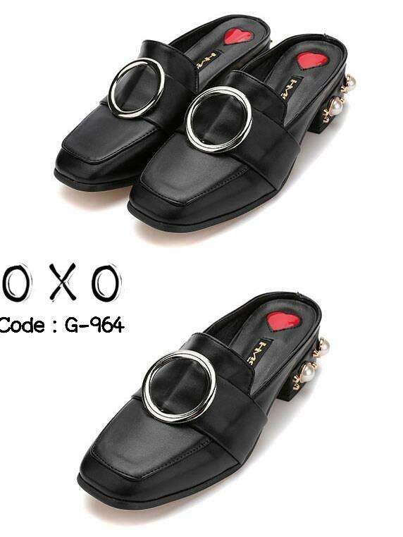 รองเท้าส้นเตี้ยสีดำ เสริมส้นมุก สไตล์Gucci (สีดำ )