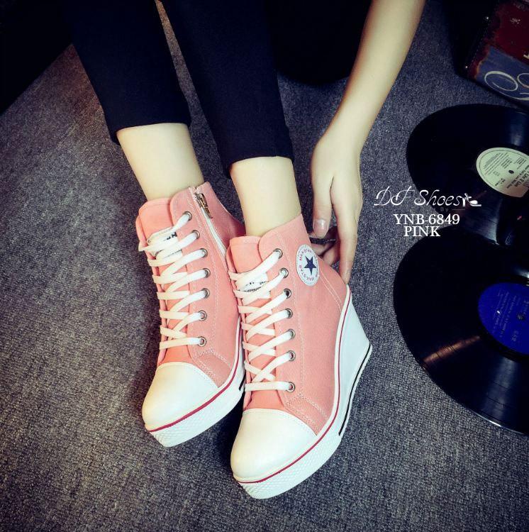รองเท้าผ้าใบหุ้มข้อส้นเตารีดสีชมพู ซิปข้าง Style Converse (สีชมพู )