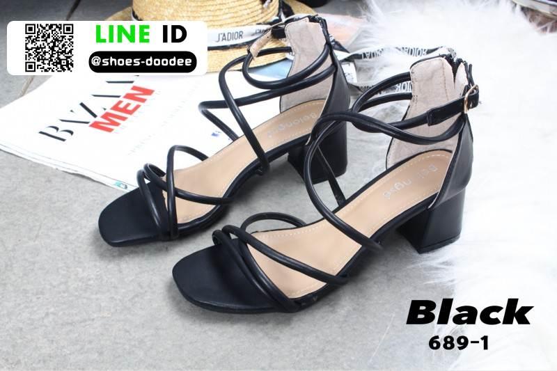 รองเท้าส้นเหลี่ยม หน้าสานซิปหลัง 689-1-BLK [สีดำ]
