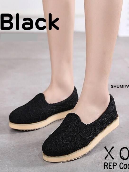 รองเท้าคัทชู ส้นขนมปัง ผ้าลูกไม้ ขอบยางยืด (สีดำ )