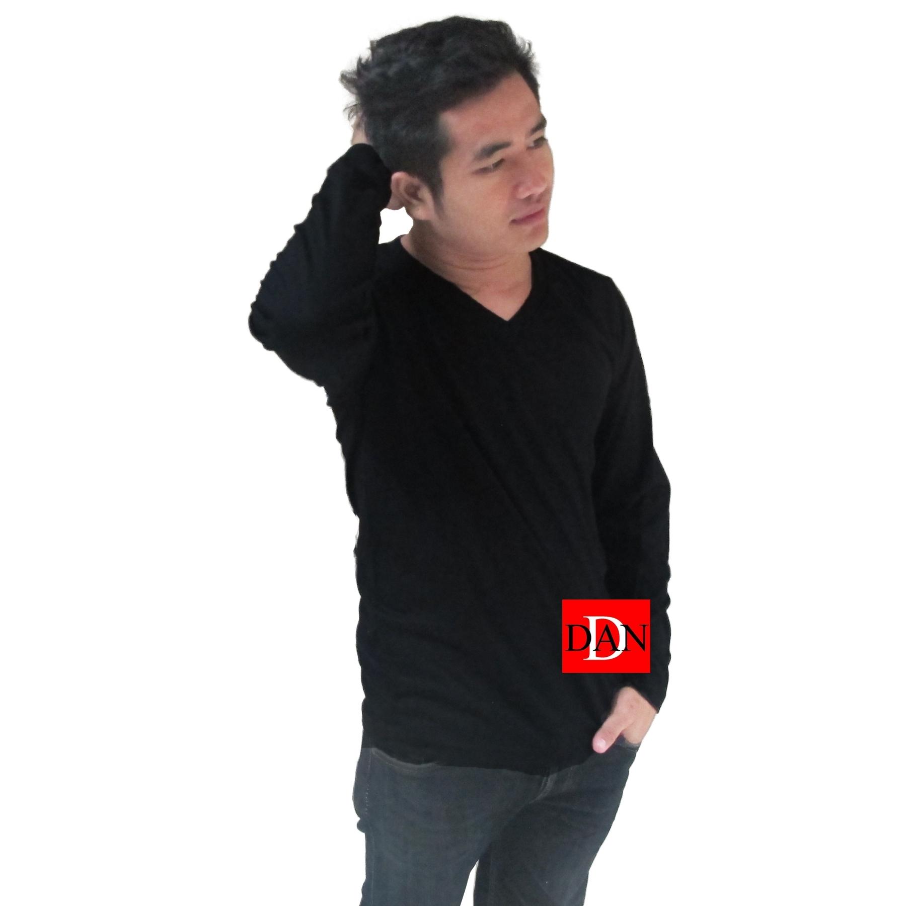 เสื้อแขนยาว คอวี สีดำ