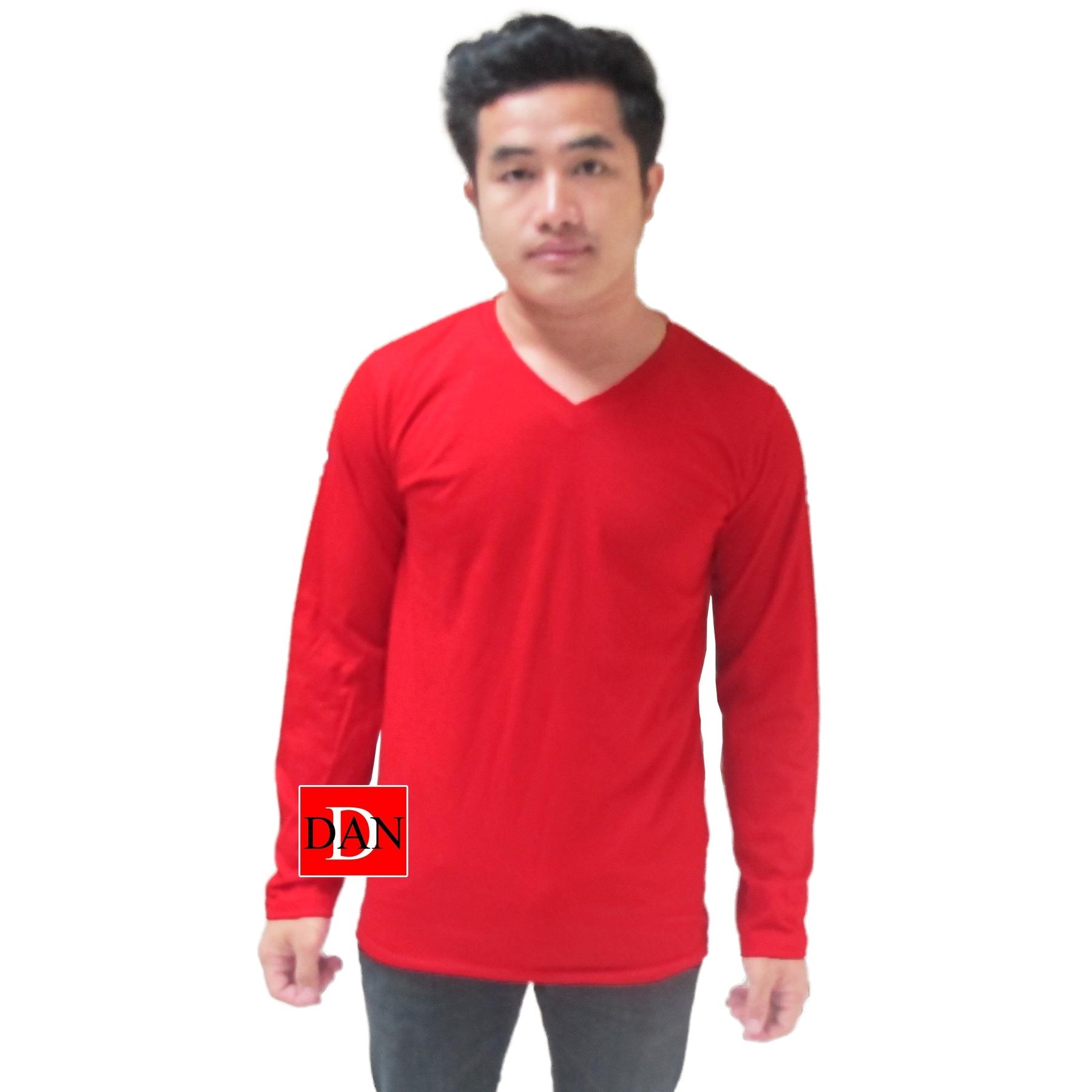 เสื้อแขนยาว คอวี สีแดง
