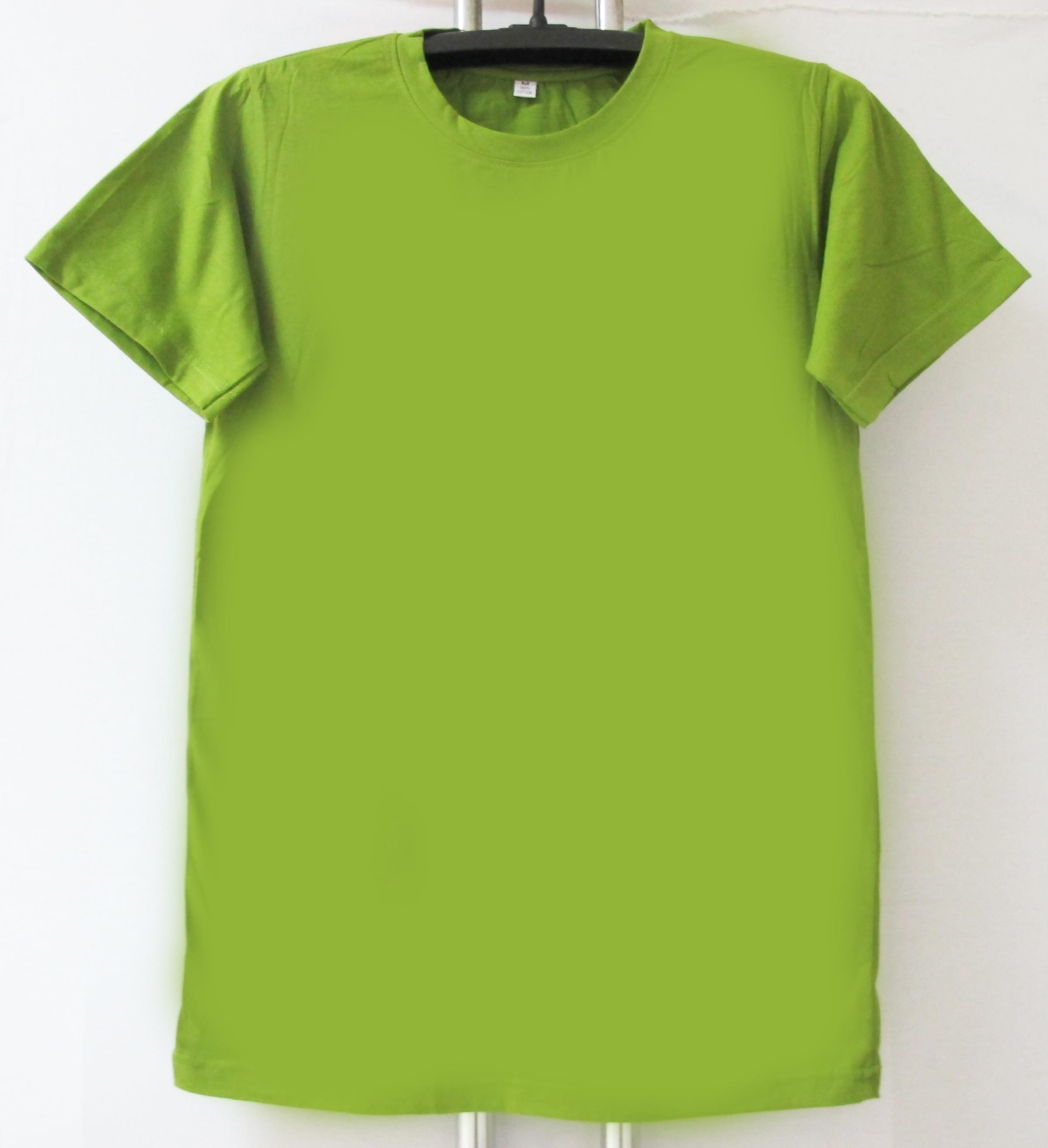COTTON100% เบอร์32 เสื้อยืดแขนสั้น คอกลม สีเขียวขี้ม้าอ่อน