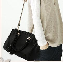 พร้อมส่ง กระเป๋าถือและสะพายข้าง กระเป๋าหรูคุณนายแฟชั่นเกาหลี Sunny-682 แท้ สีดำ