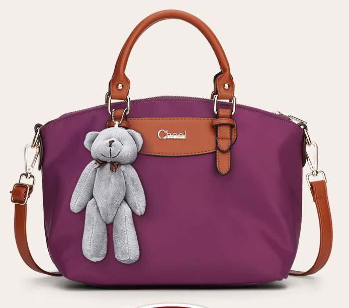พร้อมส่งกระเป๋าถือและสะพายข้าง ผ้ากันน้ำ แฟชั่นเกาหลี Sunny-741 สีม่วง * แถมตุ๊กตาหมี