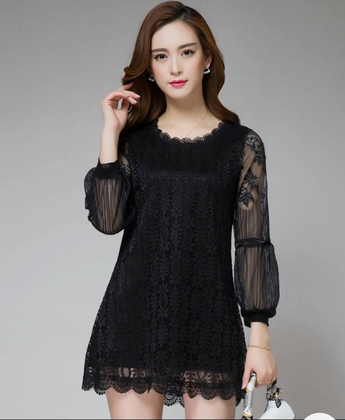 wOwchicy Dress : ชุดเดรสแขนยาว ลูกไม้สวยหรูสีดำ ด้วยดีไซส์ช่วงแขนพองสวยโดดเด่นไม่ซ้ำใคร งานลูกไม้เนื้อนิ่มทั้งชุด มีซับใน งานคุณภาพนำเข้า