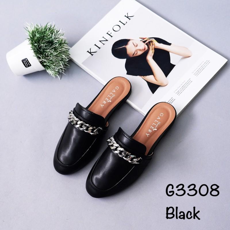 รองเท้าส้นเตี้ยเปิดส้น ทรงสวม แต่งอะไหล๋โซ่สีเงิน [สีดำ ]