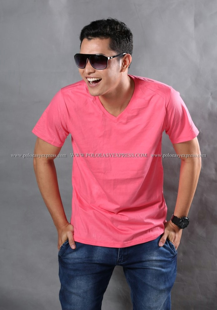 4XL เสื้อยืด สีชมพู Sweety คอวี แขนสั้น Size 4XL