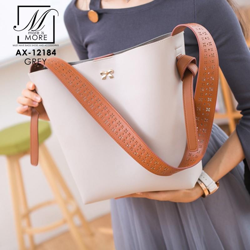 กระเป๋าสะพายกระเป๋าถือ แฟชั่นนำเข้าสไตล์เกาหลี แบรนด์ axixi แท้ AX-12184-GRY (สีเทา)