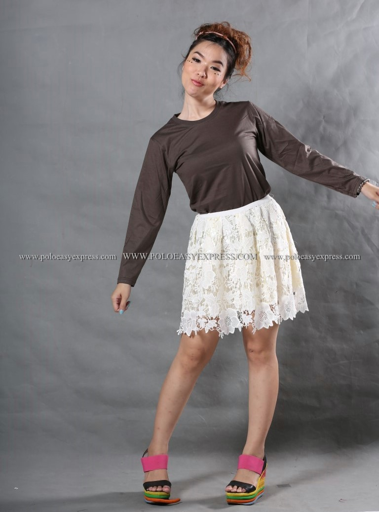 เสื้อยืด สีเทาเข้ม คอกลม แขนยาว Size S