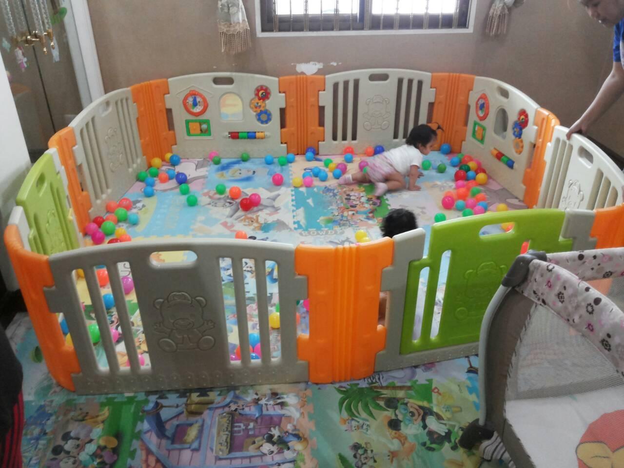 รั้วกั้นเด็กเกาหลี Eduplay เอดูเพลย์ รุ่น Happy Baby Room สีส้มเขียว