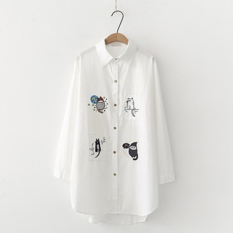 Pre-Order เสื้อเชิ้ตตัวยาวปักลายแมว4ตัว มี3สี