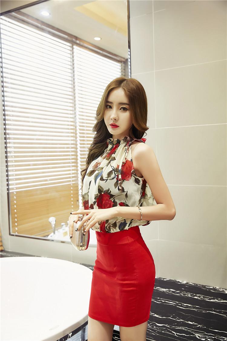 ชุดเดรสแฟชั่นเกาหลีกระโปรงสีแดงไฮโซ