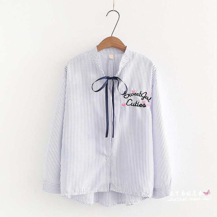 Pre-Order เสื้อเชิ้ตลายทางชายไล่ระดับ ปักลายที่อก มี3สี